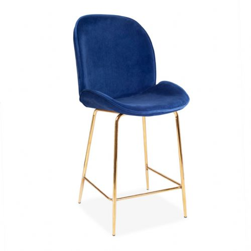 x2 Deep Blue Journey Velvet Barstool, with Gold Legs 65cm